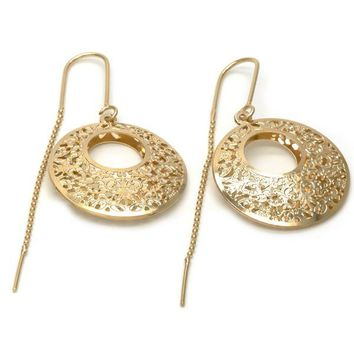 Gold Layered 03.32.0537 Threader Earring, Filigree Design, Polished Finish, Golden Tone