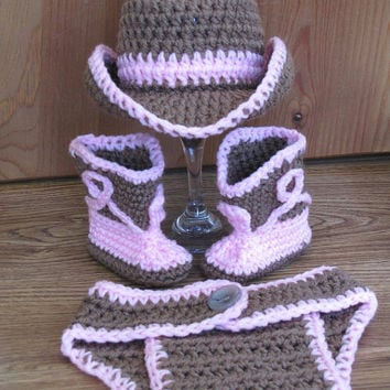 Newborn, 0-3 Months Baby Crochet Cowboy Cowgirl Hat & Diaper Cover Boots Photo Prop Set Outfit