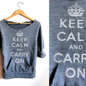 HAND STENCILED Deep Scoop Neck Heather Keep Calm by twostringjane