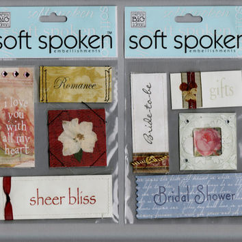 Wedding Stickers Destash, Romance, Bridal Shower, scrapbook embellishments, Me and My Big Ideas Soft Spoken, MAMBI