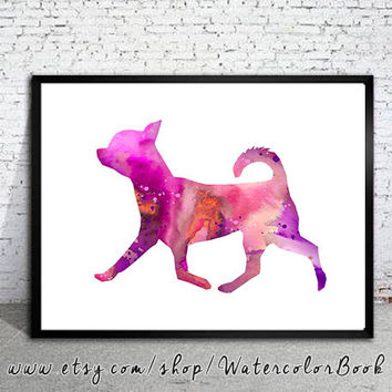 Chihuahua 15 Watercolor Print, Chihuahua Art, Home Decor, dog watercolor, watercolor painting, dog art, dog print,
