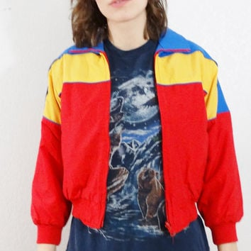 80s puffer coat - vintage puffy snow coat - 1980s nylon red yellow blue coat - warm ski winter - crop cropped short - women small xs s