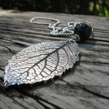 Silver real leaf necklace, silver hydrangea leaf pendant, forest green chalcedony quartz, garden pendant, fall autumn leaves nature necklace