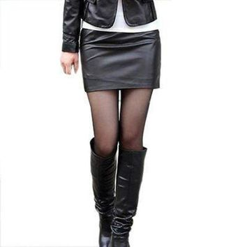 PEAP2Q new 2015 fashion women faux leather bodycon skirts high waisted female pencil skirt womens