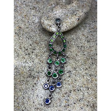 Vintage Handmade 925 Sterling Silver Chrome Diopside Blue Sapphire Chandelier Earrings