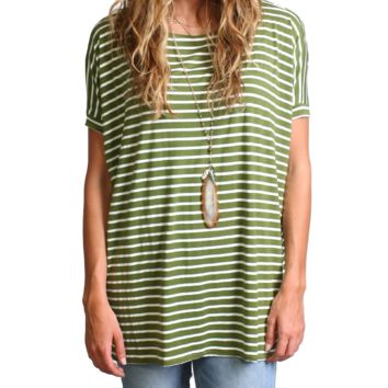 Olive Stripe Piko Short Sleeve Top