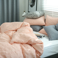 Coral Pink / Peach Colored Naturally Wrinkled Soft Twin / Queen Size Bedding Set