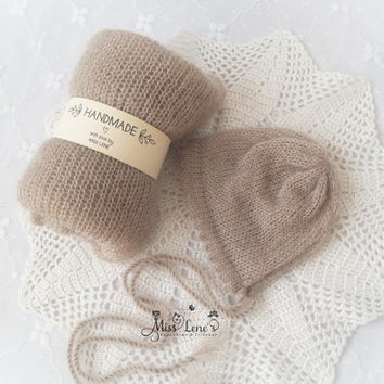 Light Beige Newborn Mohair Wrap and Bonnet Set, Newborn Photo Prop Set, Newborn Wrap Set,  Knit Mohair Wrap, Newborn Girl Photo Prop Set