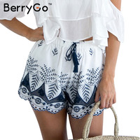 BerryGo Embroidery high waist shorts women Casual beach tassel drawstring shorts Loose cotton fringe summer shorts 2017