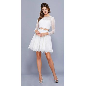 Lace Two-Piece Short Prom Dress Long Sleeves Cut Out Back Ivory