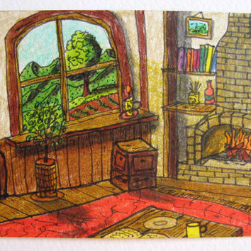 ACEO drawing of cosy house window view, original ACEO card of the inside of a cottage house corner with a mountain view from the window