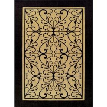 Martha Stewart Living, Scroll Beige/Black 5 ft. 3 in. x 7 ft. 4 in. Indoor/Outdoor Rug-DISCONTINUED, 3063.81.51 at The Home Depot - Mobile