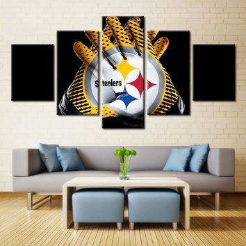 Pittsburgh Steelers Gloves NFL Football 5 Panel Canvas Wall Art Home Decor