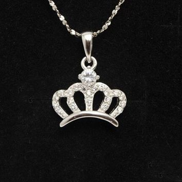 DCCK0OQ Jewelry Shiny Gift Stylish New Arrival 925 Silver Accessory Crown Lock Necklace [8379704199]