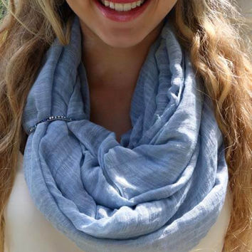 Grey Blue Scarf Cuff