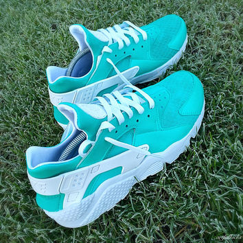 Gift Box Blue Nike Huarache Run Triple White Custom