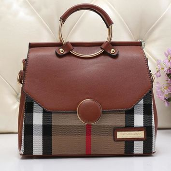 Burberry Women Leather Tote Shoulder Bag Satchel Handbag 6