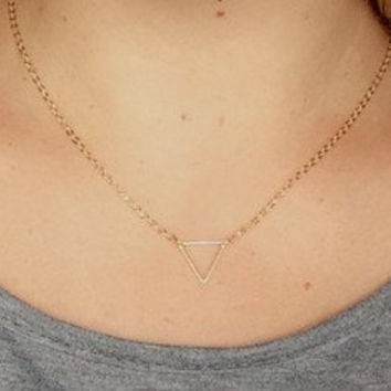 Gold Triangle Necklace, Gold Triangle Charm Necklace, Bridesmaid Gift, Wedding, Graduation, Love