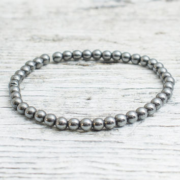 Hematite beaded stretchy bracelet, mens bracelet, womens bracelet
