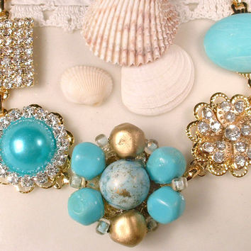 OOAK Turquoise Blue Rhinestone Gold Bridal Bracelet Vintage Tiffany Aqua Cluster Earring Bridesmaids Jewelry Beach Wedding Gift Charm Button