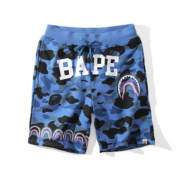 BAPE new fashion camouflage shark men and women beach shorts F-A-KSFZ Blue
