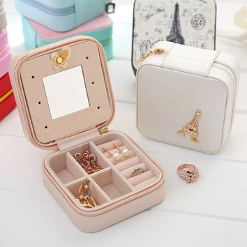 Women Fashion PU Leather Travel Zipper Jewelry Storage Box  Display Storage Case for  Ring Earrings Travel Jewelry Box