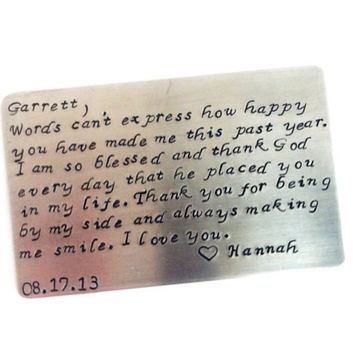Our First Year Together - Wallet Keepsake Card - Birthday, First LOvE, Anniversary Gift - Create Your Own Message