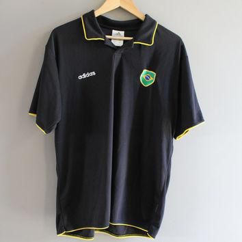 US Free Shipping Adidas Polo Shirt Black Brazil National Flag Soccor Fan Vintage 90s S