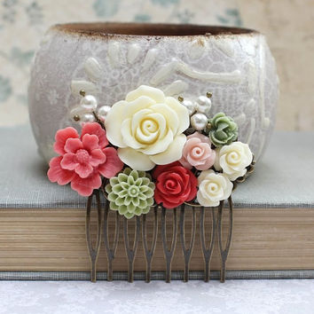 Coral Bridal Hair Comb Green Dahlia Ivory Cream Rose Floral Collage Flower Hair Accessories Bridesmaids Gifts Coral Red Wedding Jewelry