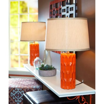 Better homes and gardens table lamp orange faceted set of 2 from walmart