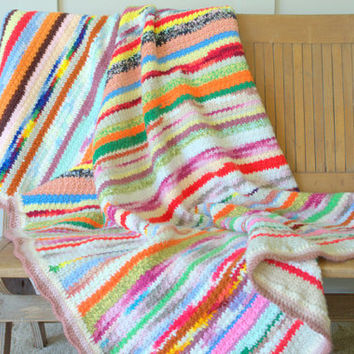 Colorful Afghan Throw Blanket, Crochet Striped Afghan, Boho Throw Blanket