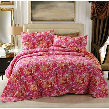 Hawaiian Breeze Pink & Red Reversible Patchwork Quilted Coverlet Bedspread Set (KBJ1625)