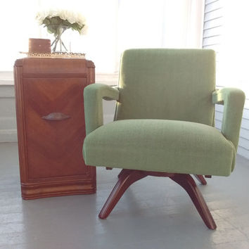 Sale, Vintage, Rocking, Sofa Chair, Upholstered Rocking Chair, Mid Century Modern, Danish Modern