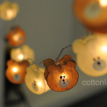 Mini teddy bear light string light cream and brown cartoon baby bear decoration decor light lantern mulberry paper