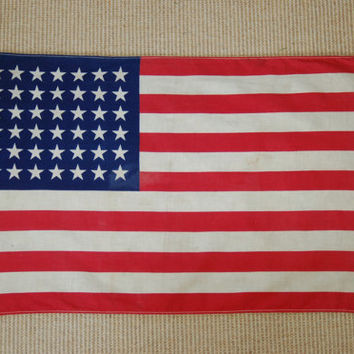 48 Star American Flag, USA Red White Blue Parade Flag, 1940s American Flag, Fourth of July, Stars and Stripes