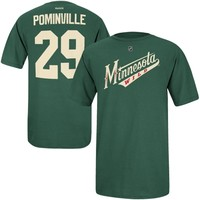 Jason Pominville Minnesota Wild Reebok Name and Number Player T-Shirt – Green