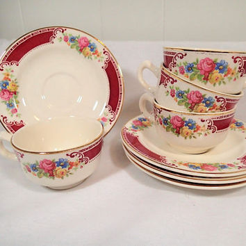 Homer Laughlin Brittany Magestic Demitasse After Dinner set of 4 cups and saucers, tiny cups, espresso. tea set