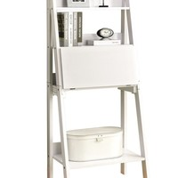 "White 61""H Ladder Bookcase With A Drop-Down Desk"