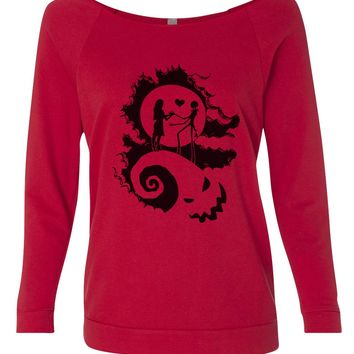 The Nightmare Before Christmas 3/4 Sleeve Raw Edge French Terry Cut - Dolman Style Very Trendy