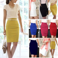 OL Lady High Waist Fit Knee Length Straight Solid Stretch Business Pencil Skirt = 1946705412