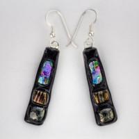 Narrow Dichroic Glass Accented Dangly Earrings with Silver Ear Wires | Umeboshi - Jewelry on ArtFire