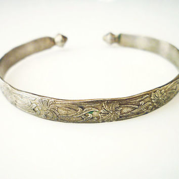 Chinese Export Bracelet Cuff Silver Embossed Lotus Flowers Antique Jewelry