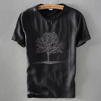 2018 New arrival black t shirt men summer linen tshirt male round neck embroidery flax short sleeve t-shirt mens casual camisa