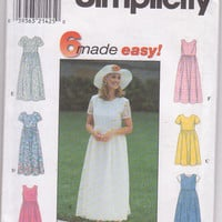 Sewing pattern for pullover dress with gathered skirt ,short sleeve or sleeveless misses size 6 8 10 Simplicity 8071 UNCUT