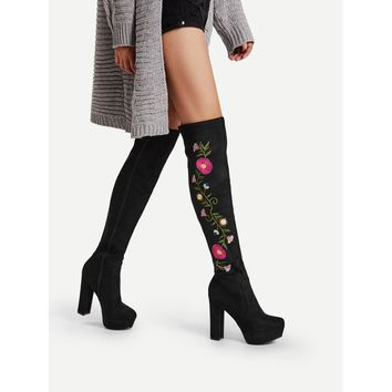 Flower Embroidery Block Heeled Knee High Boots