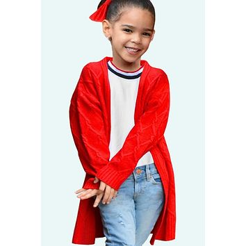 Fall Back To School Girls Chunky Knit Cable Knit Cardigan Red C
