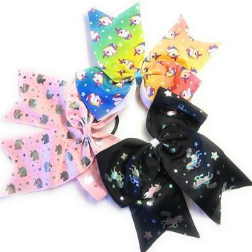 "7"" Grosgrain Unicorn Cheer, Cheerleading Hair Bow"