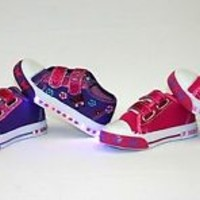 Light Up Baby Toddler Girls Velcro Strap Canvas Flat Sneaker Shoes purple pink