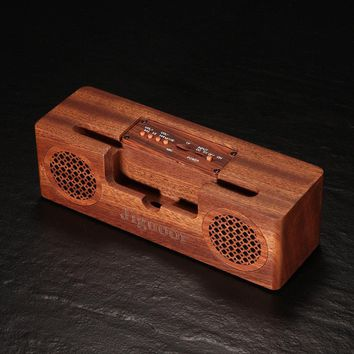Jiguoor Portable Wireless Bluetooth Speaker Natural Bamboo Wood Speakers Home Audio With Enhanced Bass Subwoofer Phone Holder Radio Retro Style Crafts