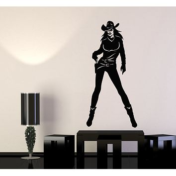 Vinyl Wall Decal Cowgirl With Gun Sexy Women Wild West Rodeo Stickers Mural (g296)